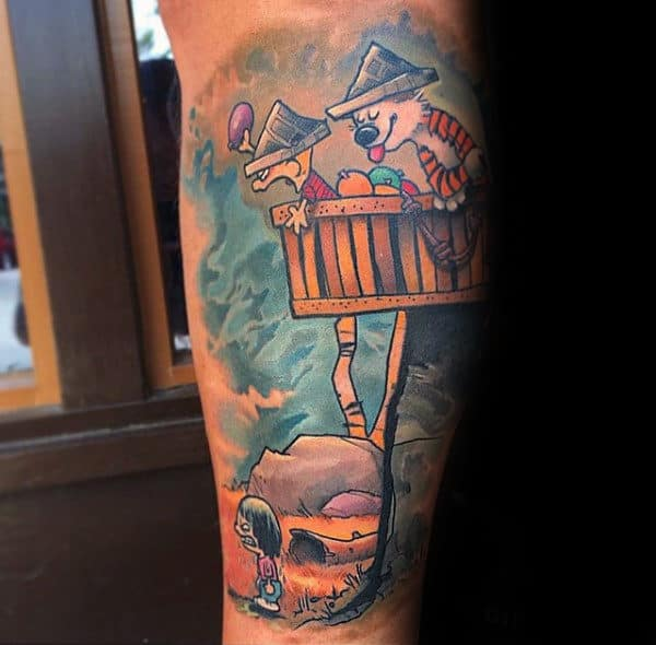 Amazing Calvin And Hobbes In Tree Fort Mens Arm Tattoo