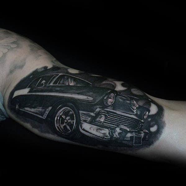 Amazing Chevrolet Classic Car Guys Inner Arm Bicep Tattoos