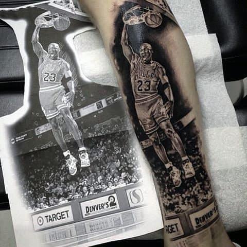 Amazing Chicago Bulls Guys Leg Tattoo