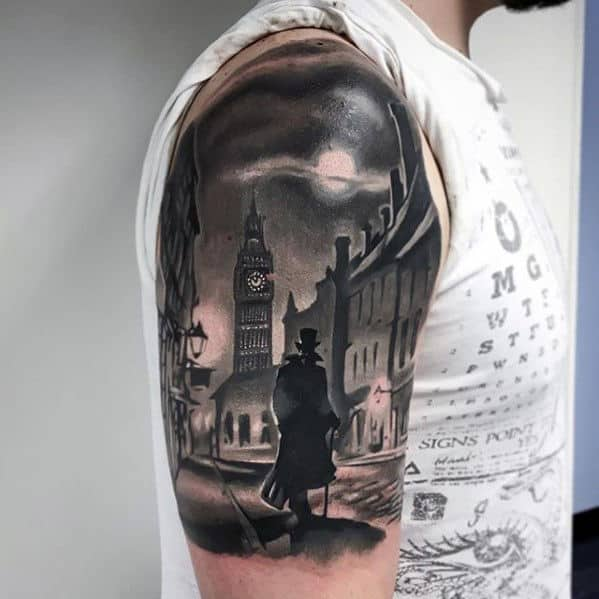 Amazing City Street Mens Half Sleeve Arm 3d Tattoo