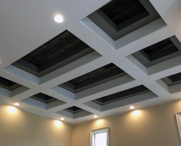 Amazing Coffered Wood Ceiling Drywall Design Ideas