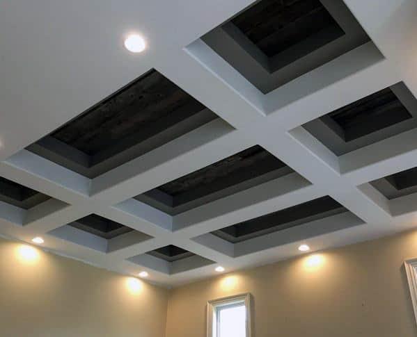 Amazing Coffered Wood Ceiling Drywall Design Ideas