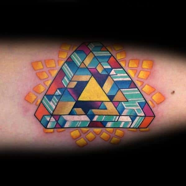 Amazing Colorful Inner Arm Bicep Mens Penrose Triangle Tattoo Designs