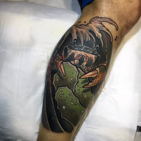 Amazing Crab Guys Leg Sleeve Tattoos