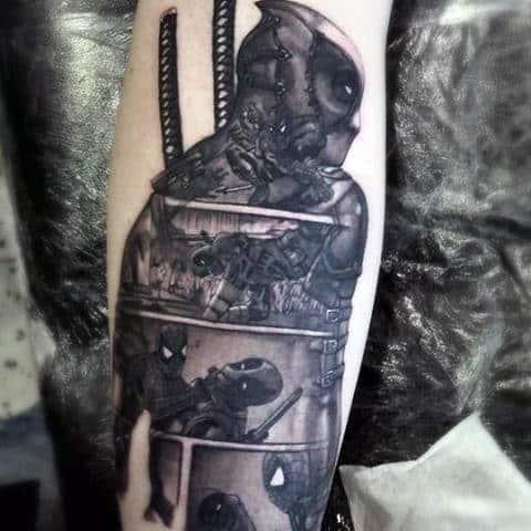 Amazing Deadpool Comic Strip Design Shaded Forearm Tattoo