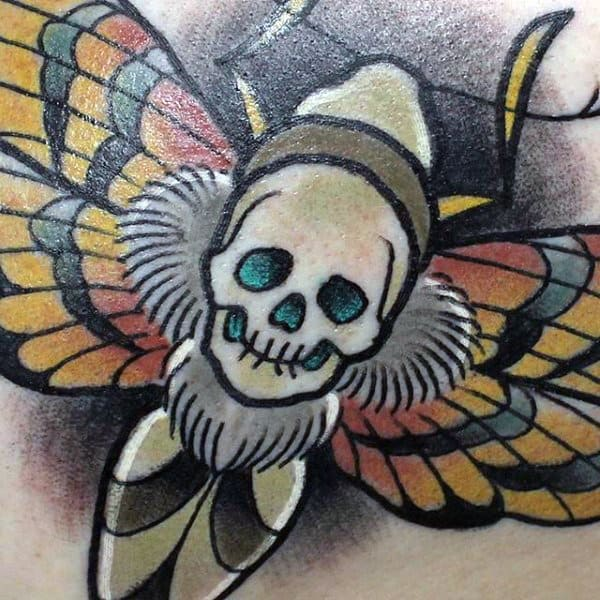 Amazing Detailed Mens Moth Tattoo Design Inspiration