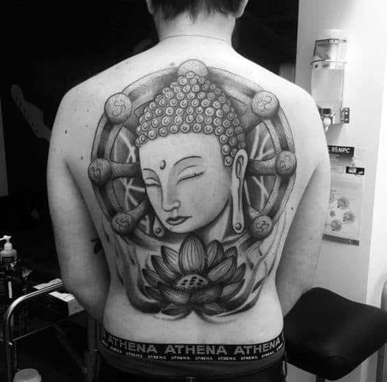 Amazing Dharma Wheel Religious Male Back Tattoos