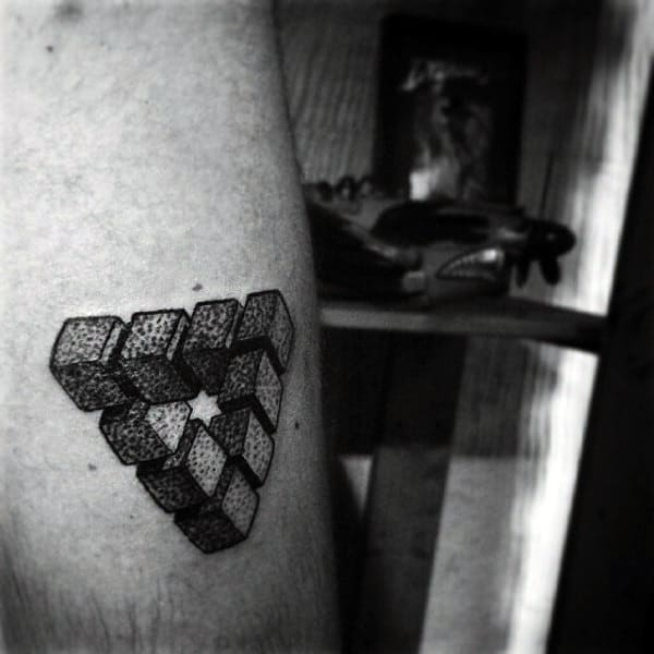 Amazing Dotted 3D Triangle Tattoo On Arms For Men