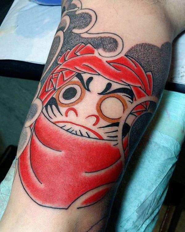 Amazing Dotwork Male Daruma Doll Inner Arm Bicep Tattoos