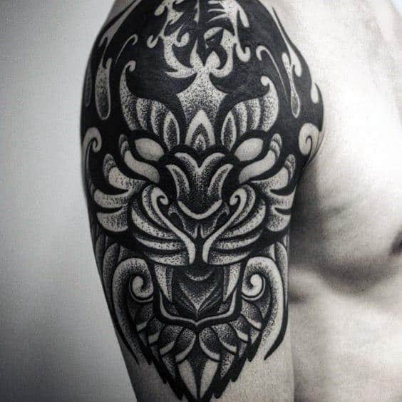 Amazing Dotwork Mens Tribal Tiger Half Sleeve Tattoos
