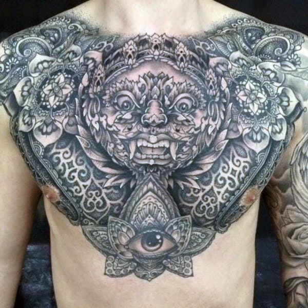 Amazing Ethnic Designed Eye Tattoo Mens Chest