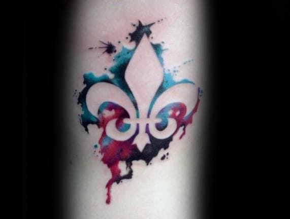 Amazing Fleur De Lis Watercolor Male Tattoo Ideas