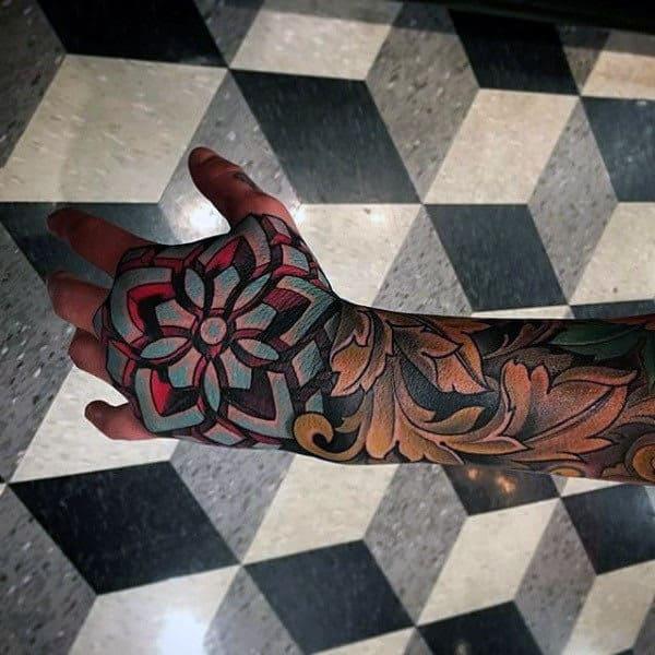 Amazing Flower Shape Optical Illusion Mens Sleeve Tattoo On Hand