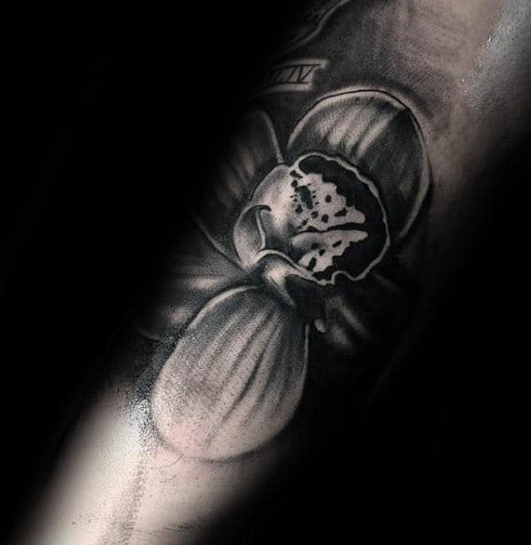 Amazing Forearm Tattoo Of Orchid Flower On Male