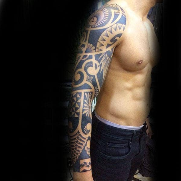 Amazing Full Sleeve Arm Tribal Tattoos For Men