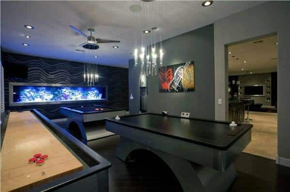 Amazing Gaming Man Cave With Fish Tank In Wall
