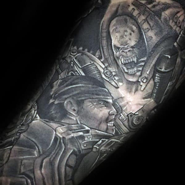 Amazing Gears Of War Guys Forearm Sleeve Tattoos With Black And Grey Ink Design