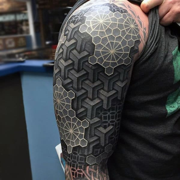 Amazing Geometric 3d White Ink Sleeve Tattoo For Men