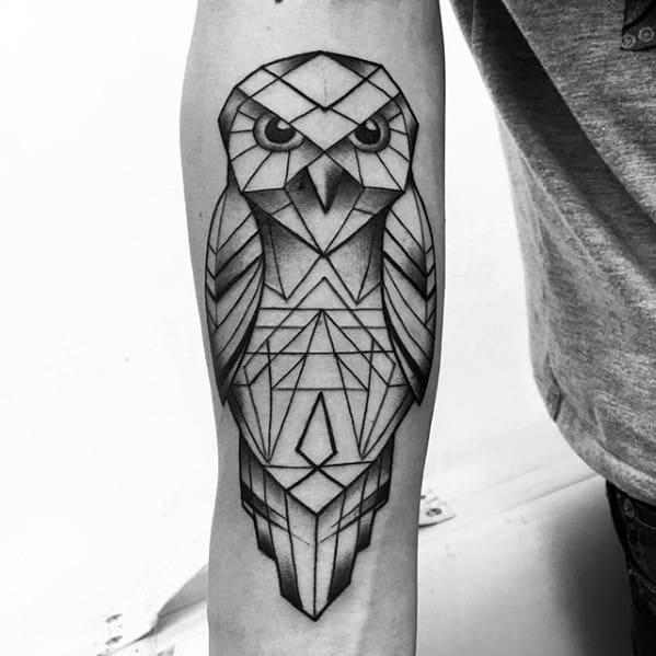 Amazing Geometric Owl Male Inner Forearm Tattoo Designs