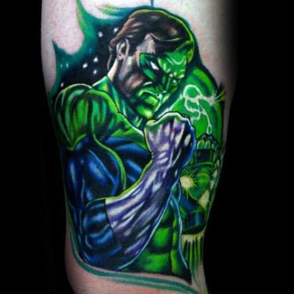 Amazing Green Lantern Mens Inner Arm Bicep Tattoos