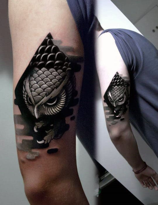 Amazing Grey Black Owl Tattoo Guys Triceps