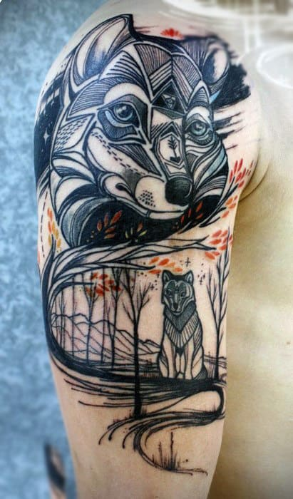Amazing Grey Ink Fox Head Tattoo On Man Right Half Sleeve