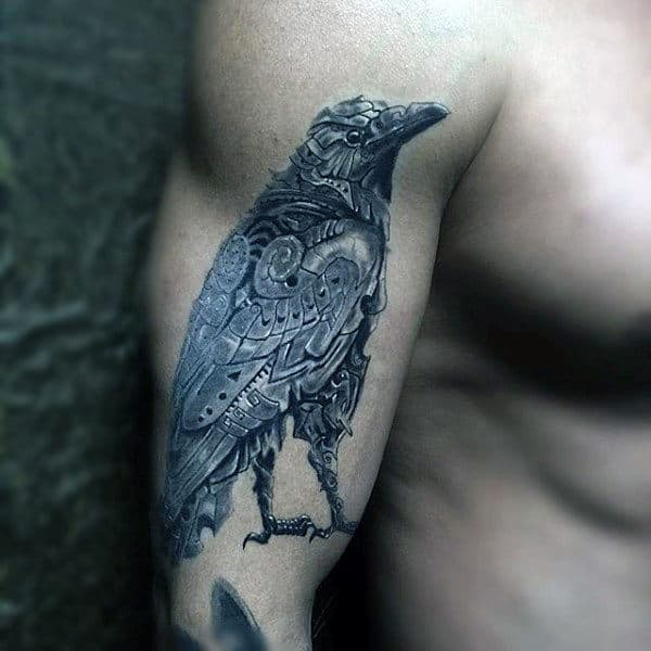 Amazing Grey Raven Tattoo Mens Upper Arms
