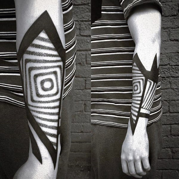 Amazing Guys Factal Blackwork Dotwork Forearm Tattoo