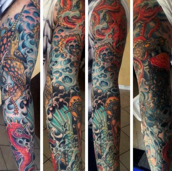 Amazing Guys Full Arm Sleeve Kraken Tattoos
