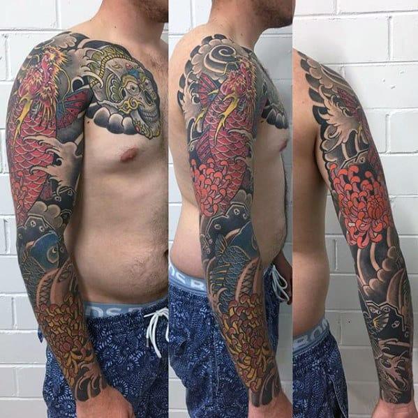 Amazing Guys Koi Dragon Japanese Themed Full Sleeve Tattoos