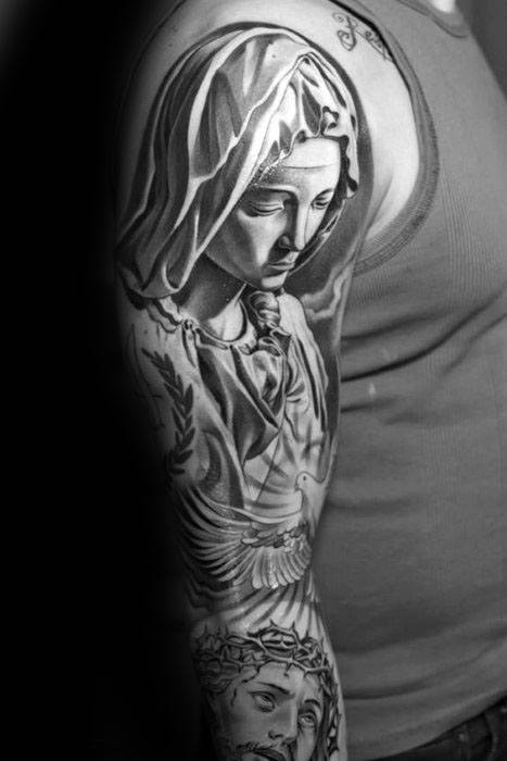 Amazing Guys Mother Mary And Jesus Christian Sleeve Tattoos