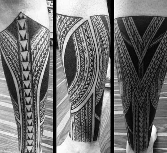 Amazing Guys Polynesian Leg Sleeve Tribal Tattoo