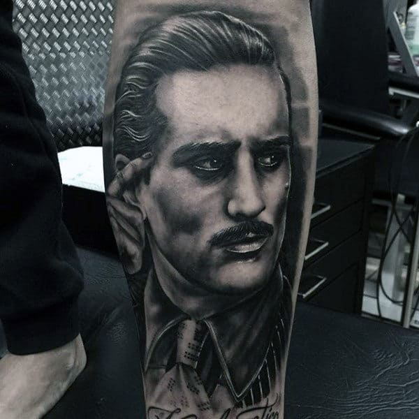 Amazing Guys Portrait Gangster Lower Leg Tattoos