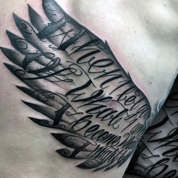 Amazing Guys Script Angel Wing Rib Cage Side Tattoos