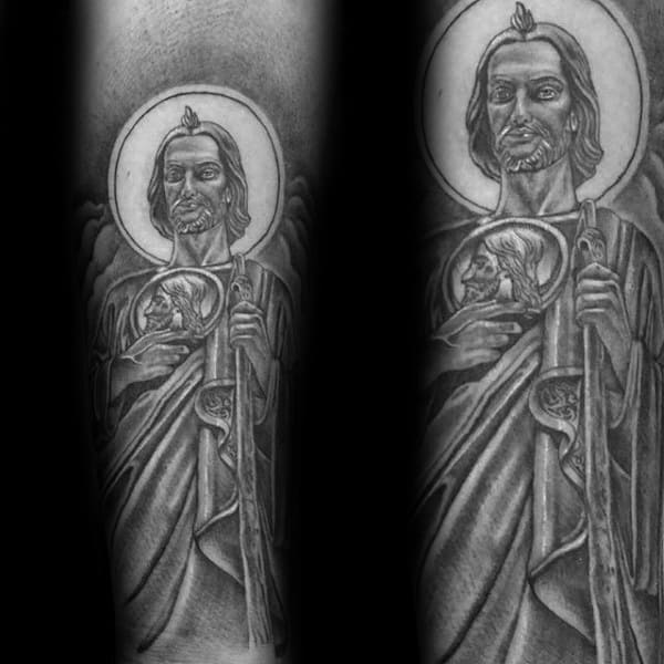 Amazing Guys Shaded St Jude Tattoo Design Ideas On Forearm