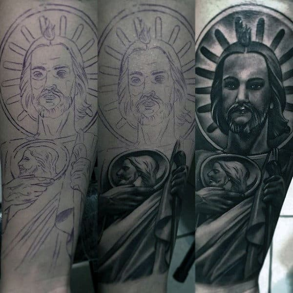 Amazing Guys St Jude Forearm Sleeve Tattoo
