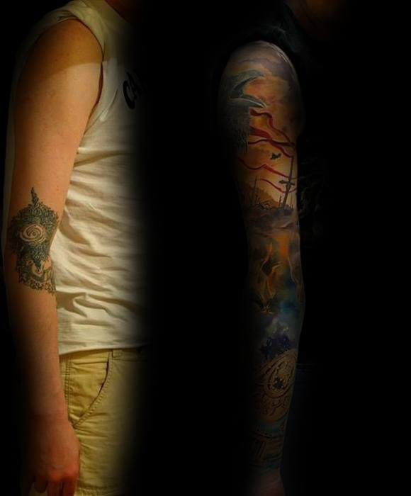 Amazing Guys Tattoo Cover Up Sleeve Before And After Designs