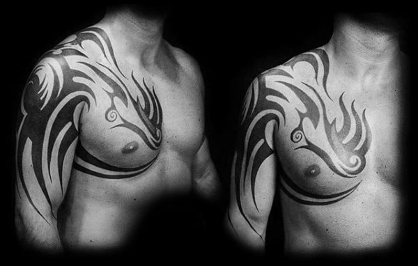 Amazing Guys Traditional Black Ink Tribal Tattoo Designs On Arm Chest And Shoulders