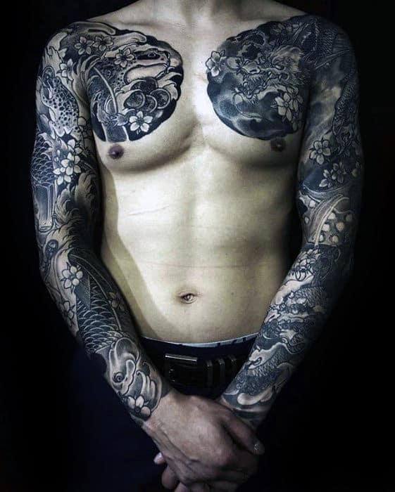 Amazing Guys Traditional Japanese Upper Chest And Full Sleeve Tattoo Ideas