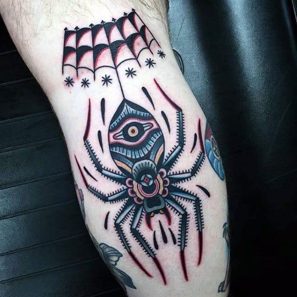 Amazing Guys Traditional Spider Leg Tattoo Design Ideas