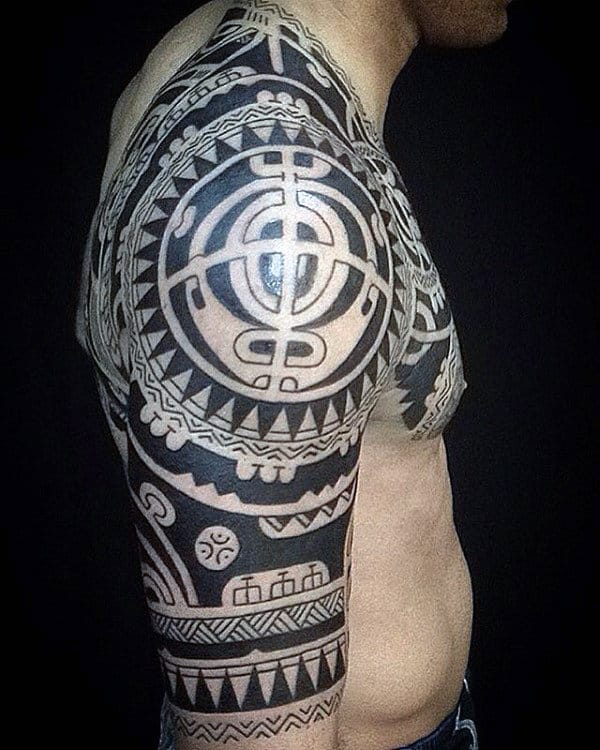 Amazing Guys Tribal Half Sleeve Tattoos
