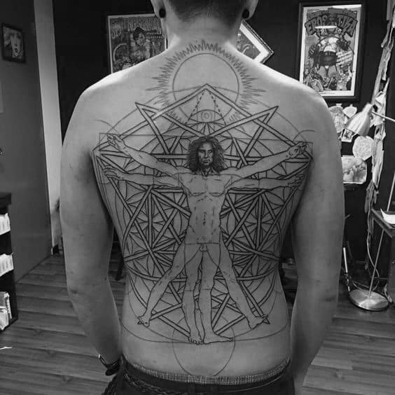 Amazing Guys Vitruvian Man Full Back Geometric Tattoo Design Ideas