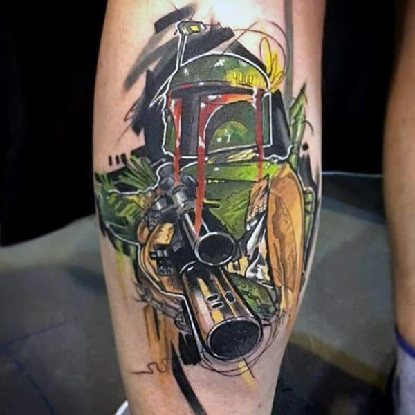 Amazing Halo Video Game Tattoo On Males Leg