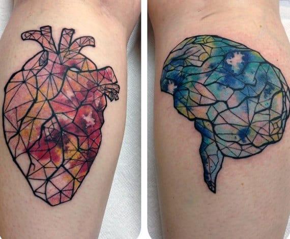 Amazing Heart Brain Tattoo Mens Calves