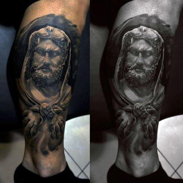 Amazing Hercules Leg Tattoo For Guys