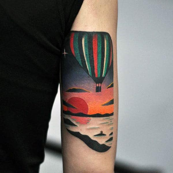 Amazing Hot Air Balloon Tattoos For Men On Tricep