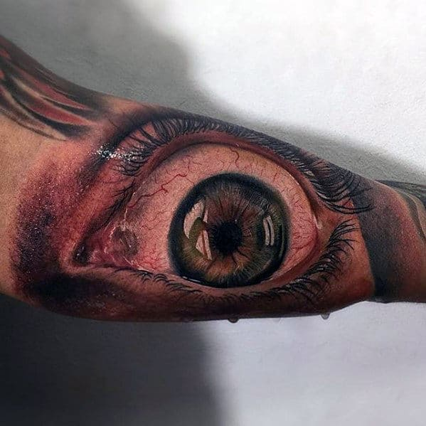 Amazing Hyper Realistic Mens 3d Eye Bicep Tattoo