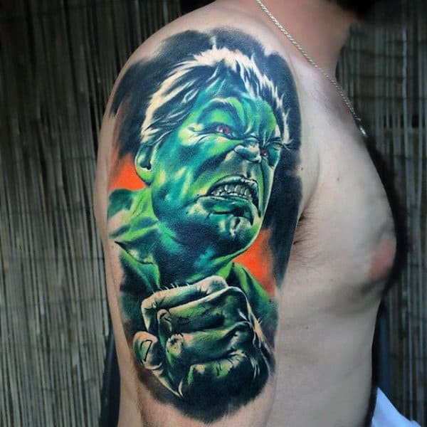 Amazing Incredible Hulk Tattoo Male Upper Arms