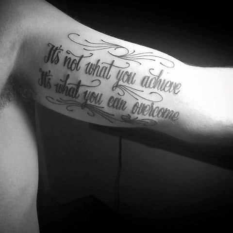 Amazing Inner Arm Bicep Quote Mens Overcome Tattoo Designs