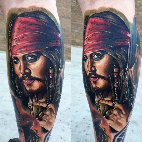 Amazing Jack Sparrow Modern Mens Leg Sleeve Tattoo Designs